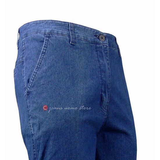 576cf630c073 Jeans Uomo 5 Tasche in denim elasticizzato Calibrato Vita e Cavallo alto