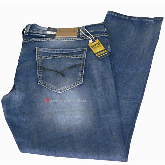 Jeans uomo TAGLIE FORTI Taglia 66 pantalone elasticizzato blu chiaro OVERSIZE